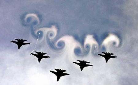 圖文:俄米格29戰鬥機編隊在空中做列隊表演
