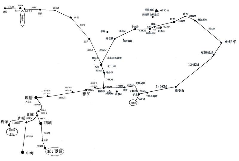 成都至稻城交通地圖
