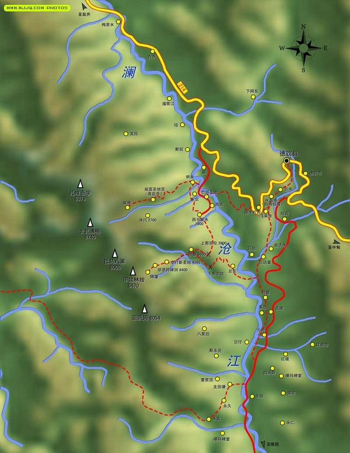 梅裡雪山內轉經路線示意圖