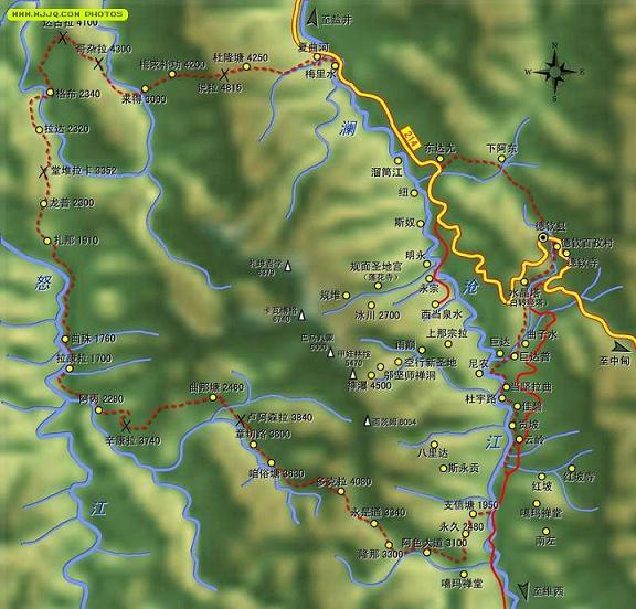 梅裡雪山外轉經路線示意圖