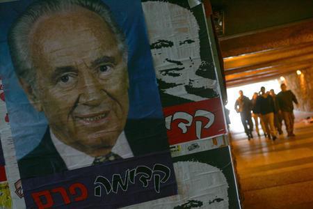 圖文:以色列政治家佩雷斯的海報