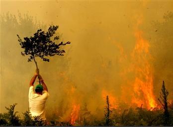 圖文:西班牙村民盡力撲救森林大火