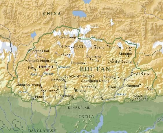 不丹王國地圖