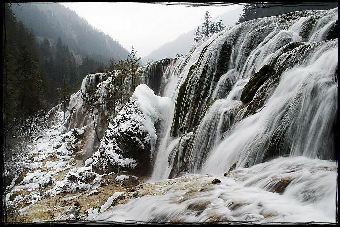 九寨溝冬天風光圖片
