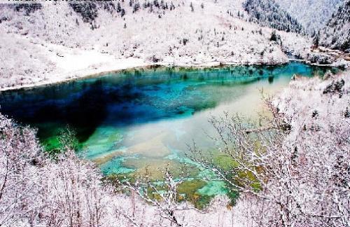 九寨溝冬季風景圖片-五花海