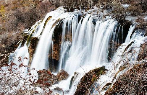 九寨溝冬季風景圖片-樹正瀑布