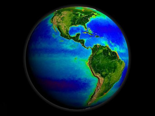 圖片:海星人造衛星拍攝的地球海洋,海洋深藍色部分表明海洋中缺少營養物質,<br /> 綠色和紅色部分顯示富含營養的海洋區域