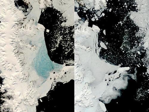 美國宇航局Terra人造衛星拍攝南極洲海冰形式的對比圖
