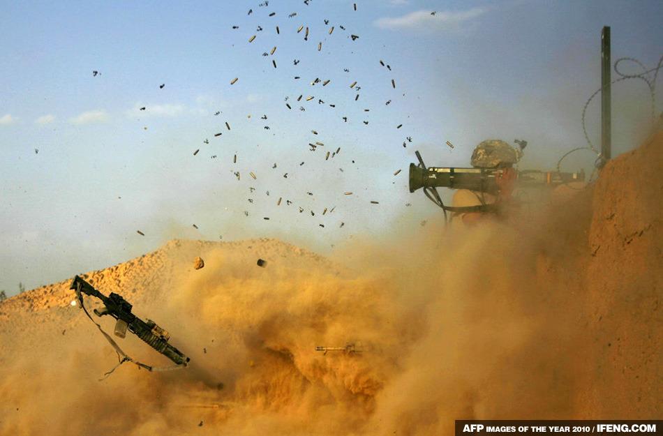 阿富汗 Arghandab 山谷,<br /> 美軍士兵向塔利班開火